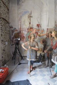 Duetto 1 analyzing a mural painting in the Basilica of Sacro Monte di Varallo (Italy).